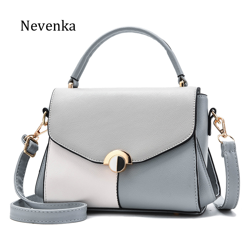 Nevenka Brand Women Pu Leather Bags Fashion Patchwork Hasp Flap Pocket Handbag Luxury High Quality Lock Shoulder Bags New Design<br>