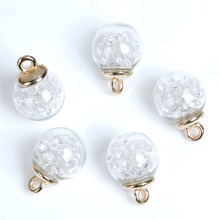 DoreenBeads Transparent Glass Globe Bottle Charms Pendants Clear Rhinestone Women Fashion Jewelry 22mm x16mm - 22mm x15mm,10 PCs(China)