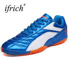 Hot Sell Soccer Shoes For Artificial Turf Sneakers Men Children Football Shoes Kids Black Blue Leather Football Cleats Cheap(China)