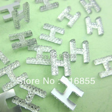 Free shipping The newest 300pcs/lot 14*10mm fashion letter/alphabet H flatback craft resin rhinestone beads for DIY decoration(China)