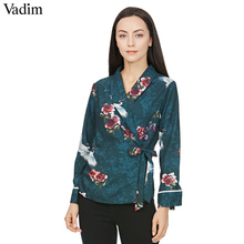 Vadim women vintage bird floral kimono wrap shirts crane pattern chic bow tie side split long sleeve outerwear blusas top LT2090(China)