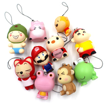 10pcs/Lot Mini Doll Squishy Kawaii Animals Mobile Phone Straps Charms Bread Wholesale