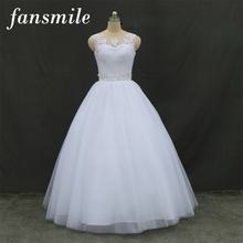 Fansmile Real Photo Cheap Double Shoulder Lace Up Ball Wedding Dresses 2016 Vintage Plus Size Bridal Dress Wedding Gowns
