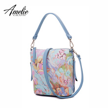 AMELIE GALANTI 2017 summer flower  women famous design handbags solid bucket shoulder bag zipper small economic simple young