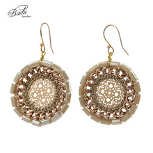 Badu Autumn/Winter Vintage Earring Crochet Plastic Beads Women Dangle Earrings Round Daily Fashion Gift for Women(China)