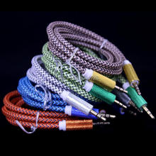 Wholesale price 1000pcs/lot 1m 3FT Fabric nylon metal 3.5mm male to male aux audio extension cable for iphone 5 6 samsung mp3 pc