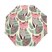 Fully Automatic Cute Fox Girl Cartoon Illustration Three Folding Umbrella Anti UV 8 Rib Wind Resistant Frame Umbrella For Mom