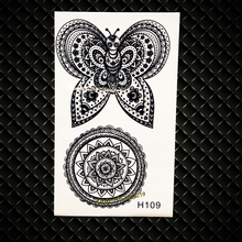Black Butterfly Waterproof Temporary Tattoo Sunflower Designs Fake Flash Henna Tattoo Stickers GH109 Latest Tattoo Totem Sticker