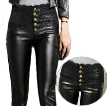2016 PU Leather Black Crochet Lace Sexy High Waist Women Pencil Pants Velvet Slim Leggings Punk Rock  Feminina Trousers MF96358