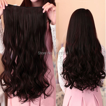 2PCS 60CM Clip in Synthetic Hair Extensions Long Wavy Curly Hair One Piece 5 Clips Blonde Brown Smooth