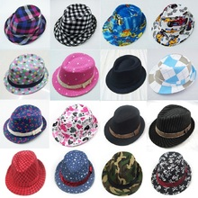 Bnaturalwell Mixed style Fashion children hat Dicers Kids trilby hat Boys fedora hats Cowboy hat Kids fedoras 10pcs BH203(China)