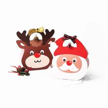 1Pc Christmas Gifts Box Paperboard Santa Claus Elk Pattern kraft paper Retro Candy Box Bag Navidad Christmas Decoration L30