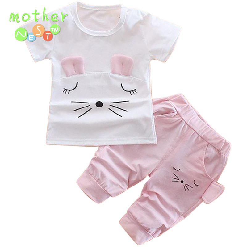 2Pcs baby girl girl top + shorts summer suit cute cat cartoon childrens clothing suit<br>