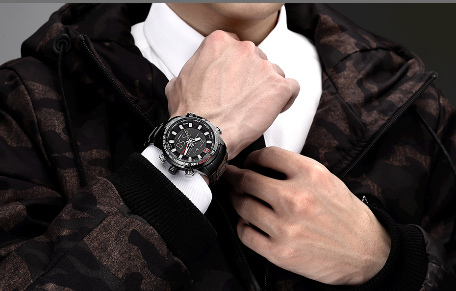 Top Brand Quartz Men Military Sport Watches Mens LED Analog Digital Watch Male Army Stainless Clock Relogio Masculino NAVIFORCE 17