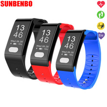 Buy SUNBENBO Smart Band T6 Heart Rate Monitor ECG Blood Pressure Pedometer Waterproof Pulsera Inteligente Wrist Band Android IOS for $30.96 in AliExpress store