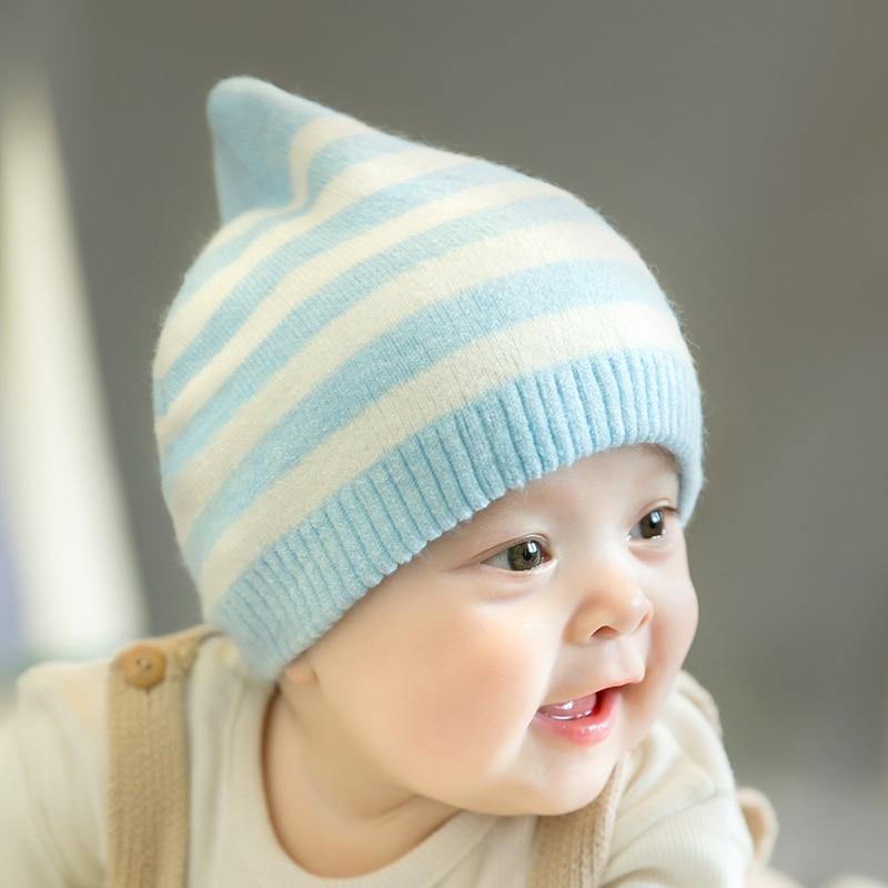 CieiK Newborn Photography Props Soft Baby Hat Warm Children Winter Cap Boys Girls beanie Infant Striped Muts Baby Accessories (18)