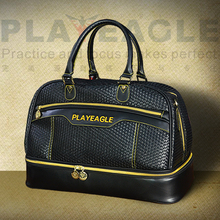 PLAYEAGLE 2017 New Waterproof PU Leather Golf Boston Bag 3D OEM Logo Black Large Capacity Travel Laundry Bag with Shoes Package(China)