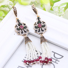 Brand Design Classical Turkish Dangle Earrings Ancient Silver Color Bead Chain Tassel Swinging Earrings Jewelry Flower Peacock