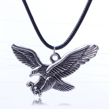 Fashion New Leather Cord Jewelry Vintage Sliver Eagle Necklace Pendant Necklace Wholesale Price XL5576(China)