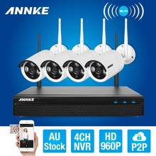 ANNKE 4CH CCTV System Wireless 960P NVR DVR 4PCS 1.3MP IR Outdoor P2P Wifi IP Security Camera Video Surveillance Kit(China)