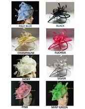 Wholesale NEW FREE SHIPPING! HOT sinamay  fascinator in SPECIAL shape with feathers, TOP grade workmanship,8 colors available
