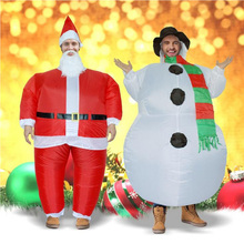 Inflatable Christmas Santa Claus Snowman Costume Fancy Dress for Men Women Adult and Child Suit Cosplay Party Play Outfits