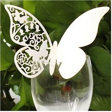 100pcs paper Butterfly mariage cards Table Paper Wine Glass Cup Card Escort Table Mark for Wedding Party Home Decorations