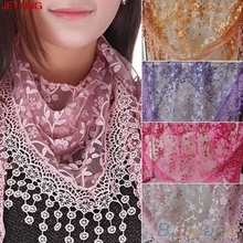 JETTING-2016 Autumn Women Silk flower Lace Triangle Pendant spain scarf female Women Tassel shawls and scarves 12 Colors winter(China)