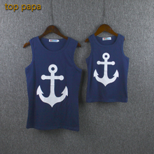 Top Papa Mother Daughter Summer Vest Mom Mama Princess Sling Shirt Children Top Clothes Baby Girl Bowknot Navy Blue White