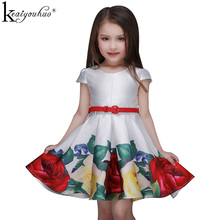 Girls Dress Flower Printing Dress Children Birthday Party Princess Dress Baby Short Sleeve Holiday Dresses Vestidos Kids Clothes