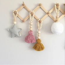 100% Handmade Wood Beads With Star Heart Pendant Tent Nautical Decoration Children's Room Wall Decor Baby Crib Decoration Photo(China)