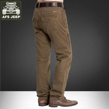 AFS JEEP Brand Mens Pants Leisure Pants Men Joggers Thick Warm Cargo Pants Sweat Pants Mid-waist Straight Multi-pockets Trousers