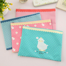 AB36 1X Kawaii Sheep Blue Pink Oxford Zipper File Paper Document Bag Holder Storage Student Stationery School Office Supply Gift