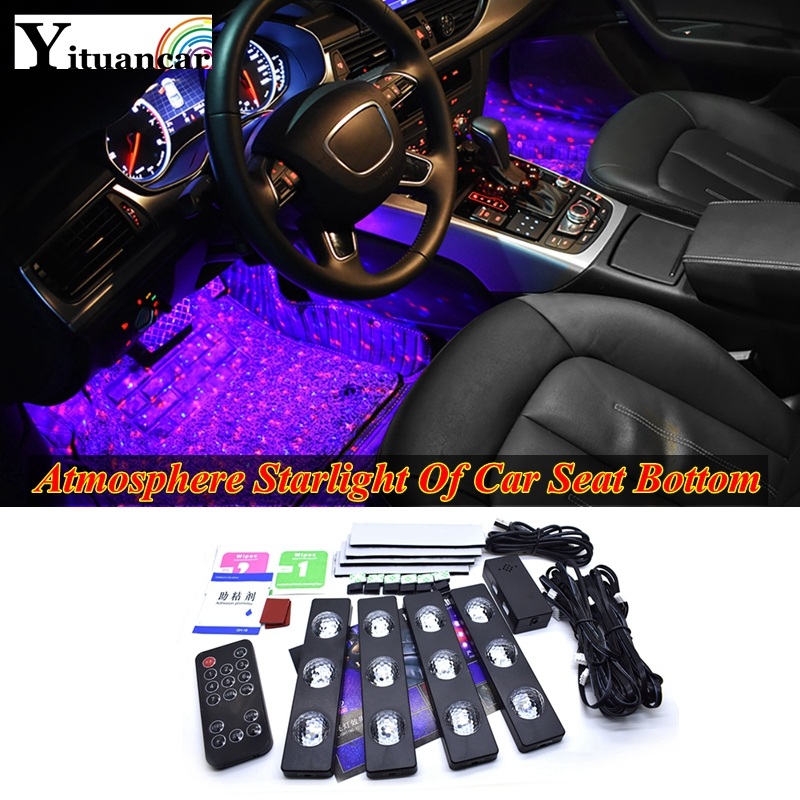 Yituancar 4Pcs USB LED Atmosphere Starlight Car Seat Bottom RGB Strip Lights Styling Breating Voice Remote CTRL Interior Lamp title=