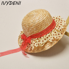 Fashion Girls Straw Hats Summer Lovely Children's Lace Ribbon Sun Hat for Girls Pink Rose Bud Silk Summer Floppy Beach Caps 2-5Y