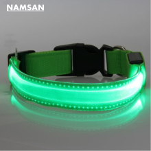Namsan Shiny Pet Dog Collars Puppy Leads Pet LED Light Collars Mascotas Cachorro Large Dogs Luminous Neck Ring Harness Green