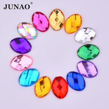 JUNAO 18*25mm Big Mix Color Oval Rhinestones Non Hotfix Flatback Clear AB Crystals Stones Glue On Acrylic Strass for Clothes(China)