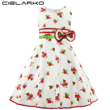 Cielarko Girls Dress Cotton Flower Printed Kids Dresses Sleeveless Bowknot Baby fancy Frocks Children Party Clothing for Girl(China)