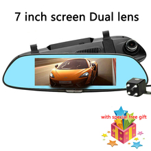 Newest 7 Inch Dual Lens Car DVR Camera Rearview Mirror Video Recorder Auto Camera Anti mirror dvrs Dash Cam Parking Monitor