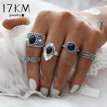 17KM Vintage Turkish Ring Sets Antique Stone Midi finger Rings for Women 2017 Punk Style 2 Color Anillos Knuckle Rings Dropship(China)