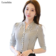 Chiffon Shirt Zebra Pattern Striped Blouse Formal Women Work wear Summer half Sleeve V-neck Collar Slim office female Tops(China)