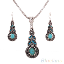 2016 New ArrivalSumptuous Retro Jewelry Rhinestone Earrings Necklace Jewel Set 7FWB 9SGY(China)