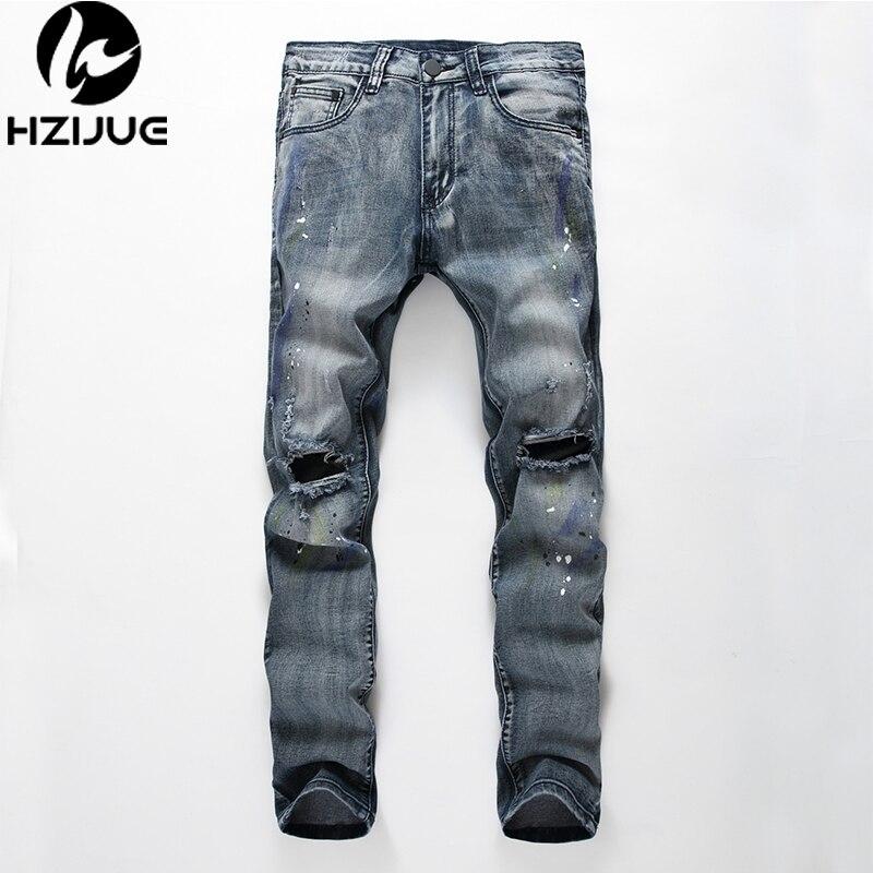 2017 NEW TOP high quality fashion casual men jeans Kanye Justin Bieber broken hole jeans men splash-ink hip hop pantsОдежда и ак�е��уары<br><br><br>Aliexpress