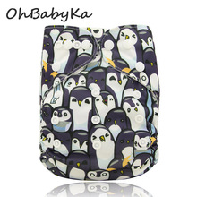 Ohbabyka Baby Diapers Digital Print Pocket Cloth Diapers Baby Care Unisex Reusable Nappies One Size Fit All Diapers 14Colors(China)