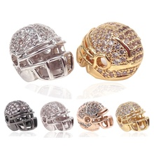 High Quality American Football Helmet Beads Hip-Hop Copper Micro Pave Zircon Rugby Ball Sport Jewelry for Men Wholesale