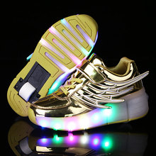 2016 New Children's Fashion Light Shoes with Wheel  Boys and Girls Luminous Shoes with Singer Pulley  Kids Fun LED Glide Shoes
