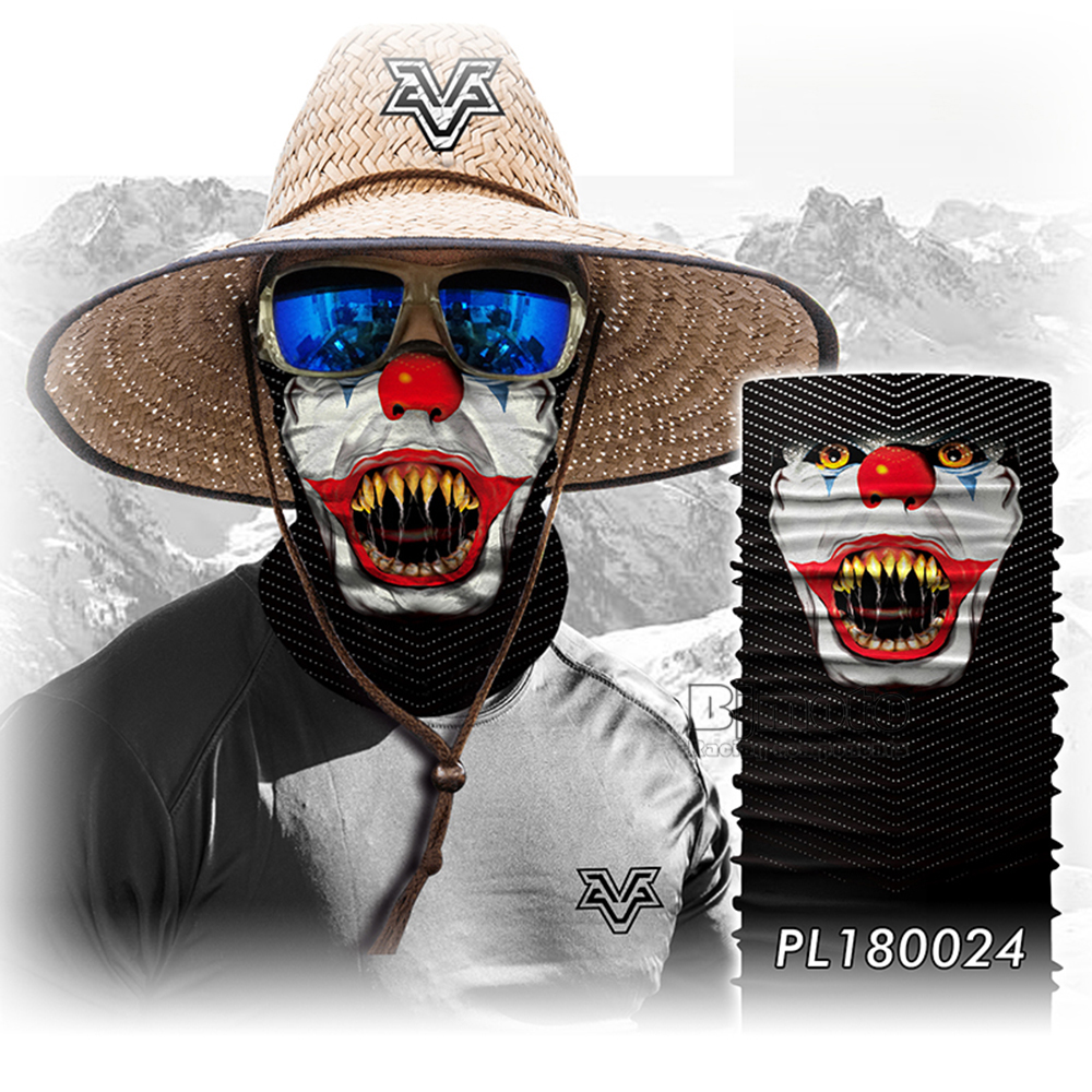 Magic Seamless Scarf Skull Ski Cycling Headwears Headband Motorcycle Neck Bandana 3D Vampire Human Face Bandana Scarf (9)