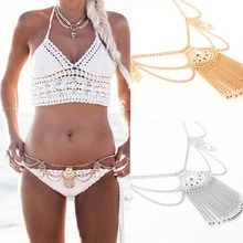 Boho Belt Tassel Metal Waist Chain Belt Dance Ethnic Body Jewelry Women Turkish Sexy Biniki Waist Belly Beach Tribal Jewelry