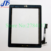 30Pcs touch Panel For ipad 2 / 3 / 4 Touch Screen Digitizer sensor + Home Button + Sticker + Camera Holder Complete Assembly(China)