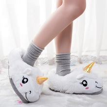 indoor unicorn slippers cotton flat furry fluffy rihanna slides fenty fur flip flops shoes house home mules faux plush s136